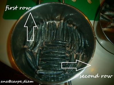 Sardele gusto ređati, trbuhom dole okrenute