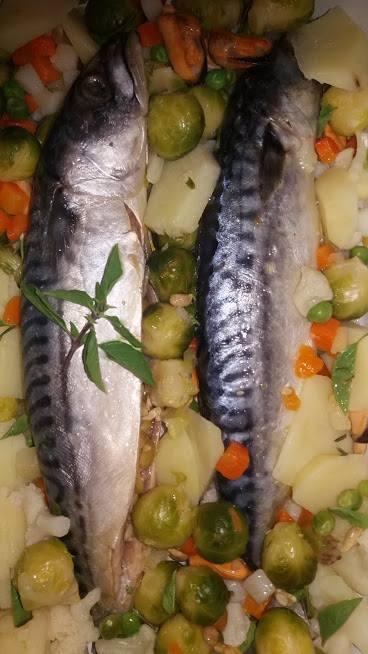 Skuša s povrćem i morskim plodovima